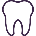 Purple outline of a tooth on a white background for tooth extraction services as normandy dental and lakewood dental