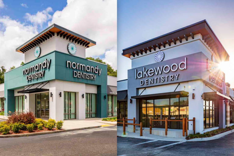 The exteriors of Normandy Dentistry and Lakewood Dentistry in Jacksonville, Florida