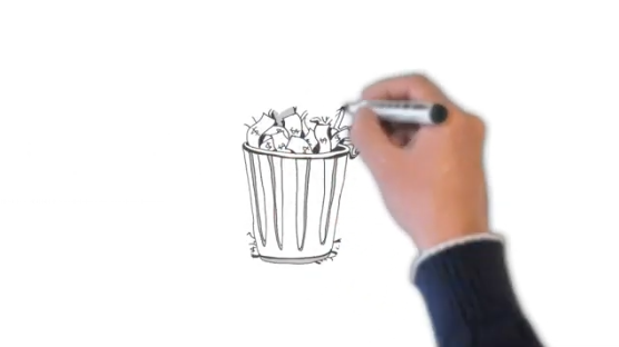 A hand with a market drawing a trash can on a whiteboard